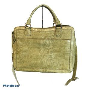 FRANKLIN COVEY Green Croc Embossed Leather Satchel